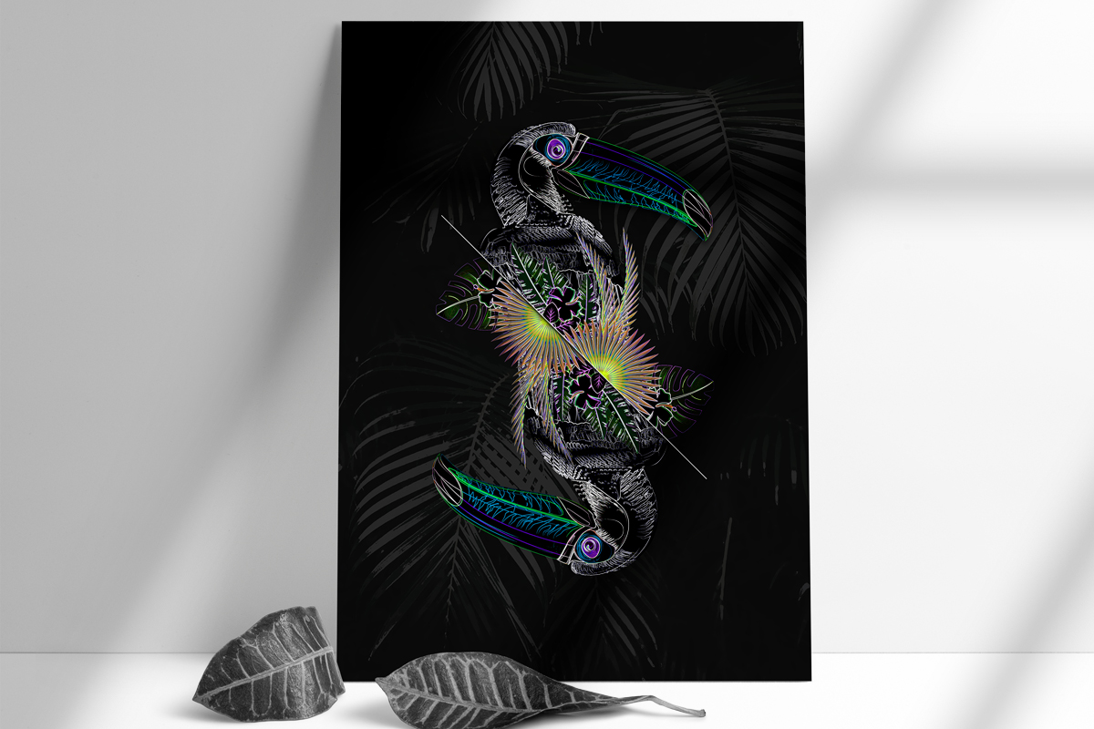 salamo design tropical animal toucan vaporwave neon card roots exhibition