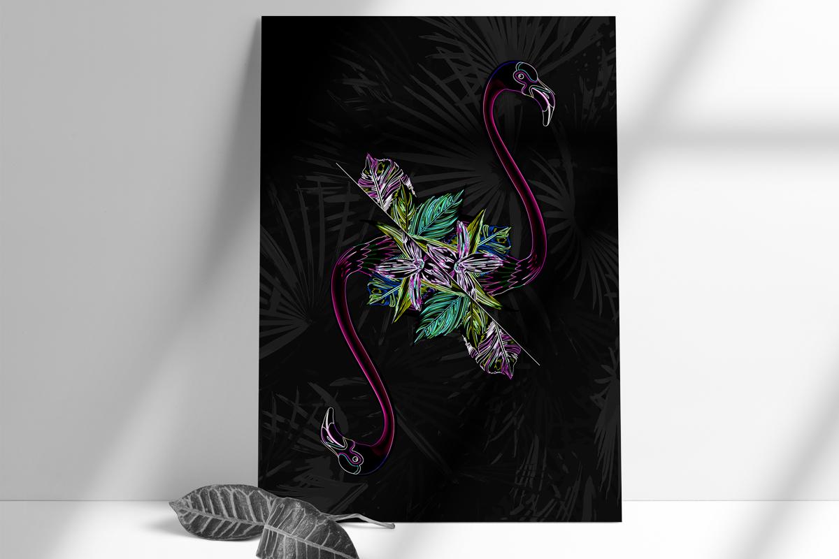 salamo design tropical animal flamant vaporwave neon card roots exhibition