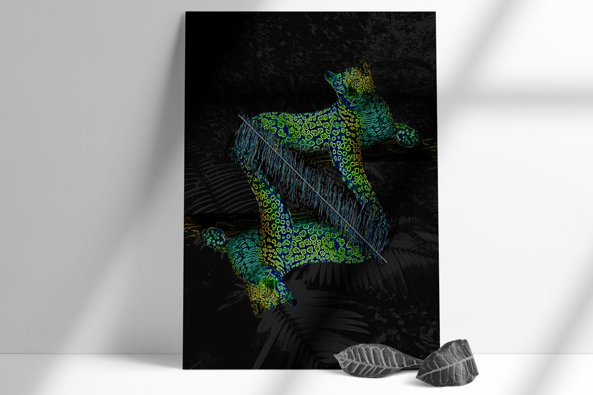 salamo design tropical animal jaguar vaporwave neon card roots exhibition