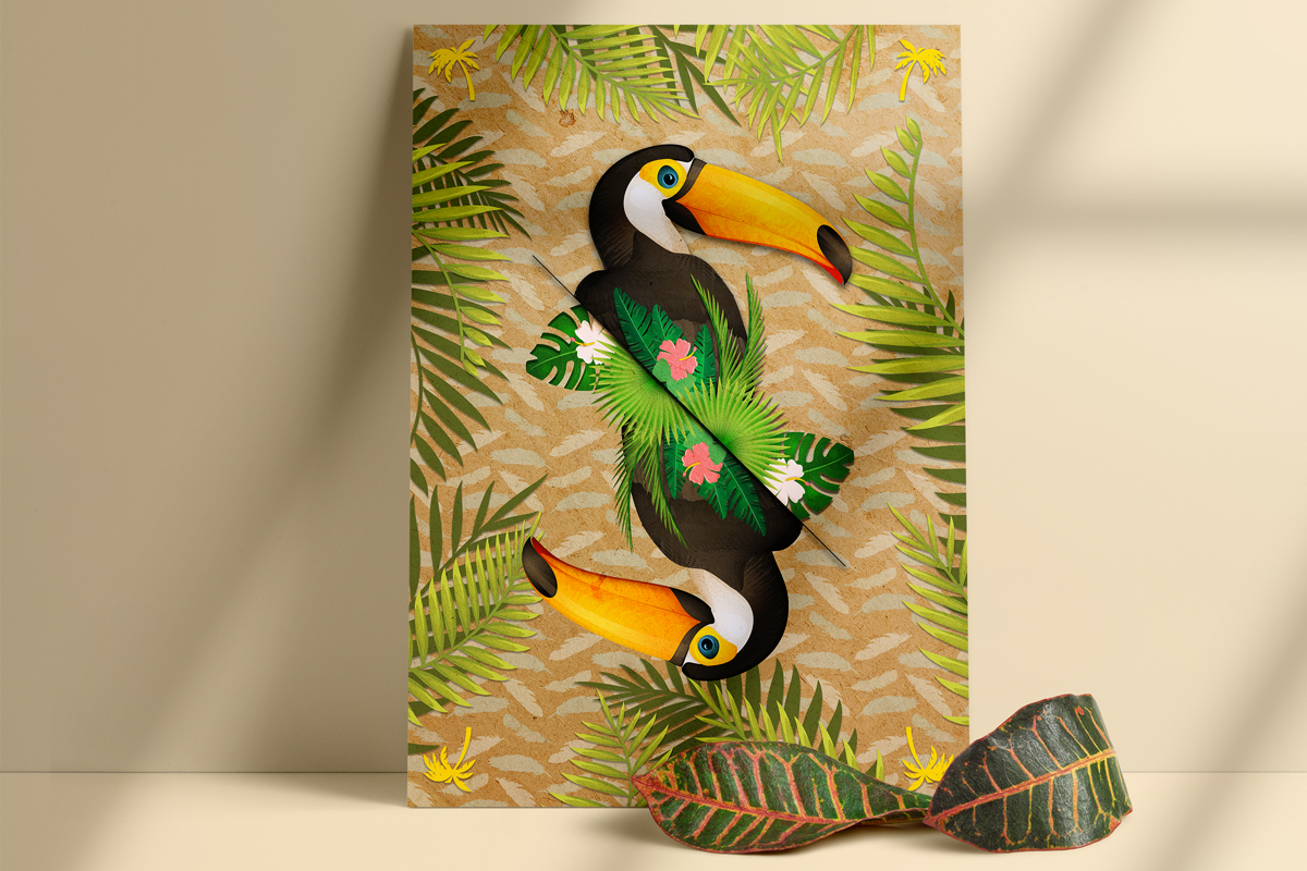 salamo design tropical animal toucan card roots exhibition