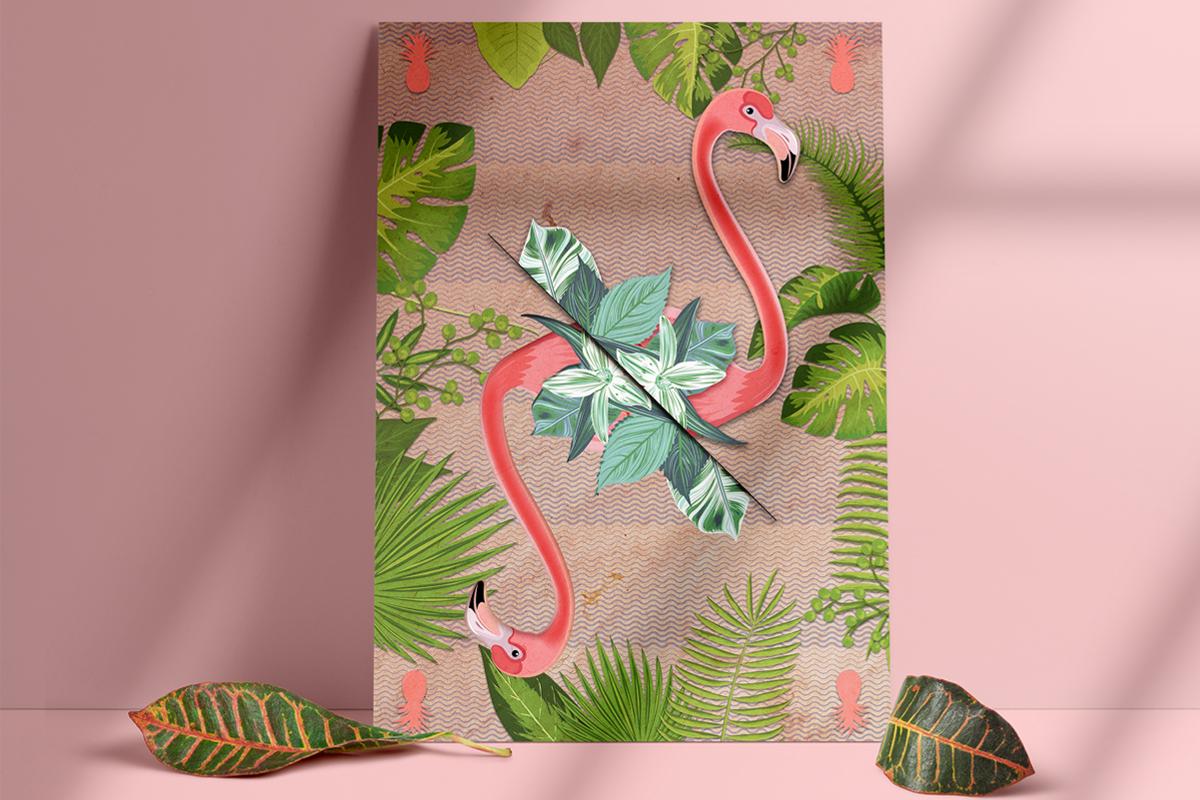 salamo design tropical animal flamant card roots exhibition